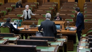 Speaker of the House of Commons Anthony Rota speaks with Minister of Health Patty Hajdu as they wait for the COVID-19 committee meeting to begin in the House of Commons Chamber Wednesday April 29, 2020 in Ottawa. THE CANADIAN PRESS/Adrian Wyld