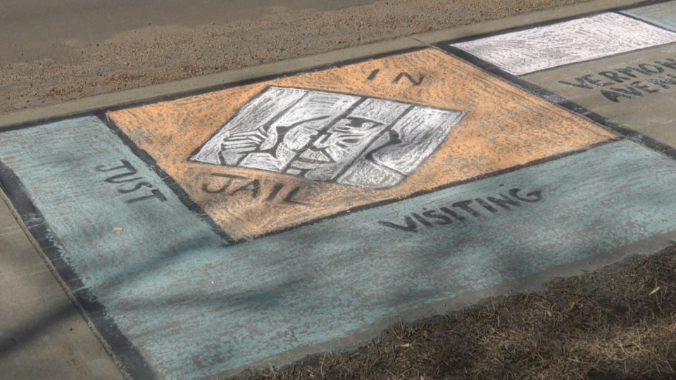 The jail square on the sidewalk Monopoly board. April 29, 2020. (CTV News Edmonton)