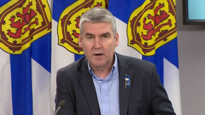 Nova Scotia Premier Stephen McNeil provides an update on COVID-19 during a news conference in Halifax on April 29, 2020.