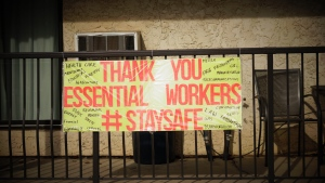 A message of support for frontline workers hangs on a Saskatoon patio during the COVID-19 crisis.