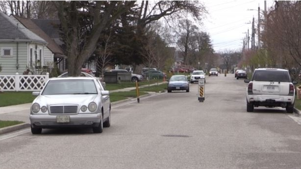 Cars are seen parked on a London Ont. street on April 30, 2020. (Daryl Newcombe/CTV London)