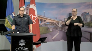 CEMA Deputy Chief Sue Henry speaks to the media during a regular update on COVID-19 in Calgary.