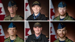 From top left: Master Cpl. Matthew Cousins, Sub-Lt. Abbigail Cowbrough and Capt. Brenden Ian MacDonald. From bottom left: Capt. Kevin Hagen, Sub-Lt. Matthew Pyke and Capt. Maxime Miron-Morin. (Credit: Department of National Defence)