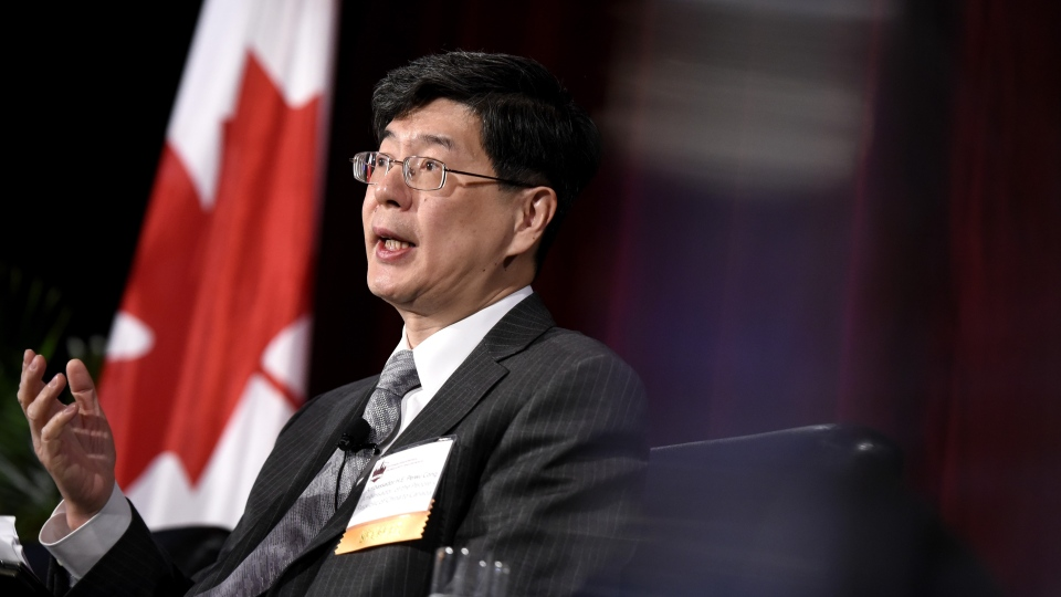 Ambassador of China to Canada Cong Peiwu speaks as part of a panel at the Ottawa Conference on Security and Defence in Ottawa, on Wednesday, March 4, 2020. (THE CANADIAN PRESS/Justin Tang)