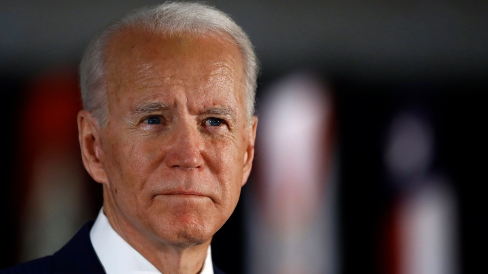 In this March 10, 2020, file photo, Democratic presidential candidate former Vice President Joe Biden speaks to members of the press at the National Constitution Center in Philadelphia. (AP Photo/Matt Rourke, File)