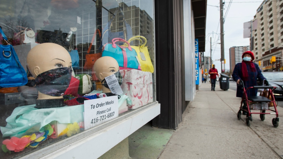 Storefront window during the pandemic in Toronto
