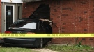 A car seen embedded in the side of a house in Waterloo on April 30. (Dan Lauckner / CTV Kitchener)