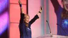 Actress Mia Farrow shares her enthusiasm for the cause of eradicating poverty with youth at Me to We Day on Friday, Oct. 17, 2008.