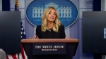 White House press secretary Kayleigh McEnany speaks during a press briefing at the White House, Friday, May 1, 2020, in Washington. (AP Photo/Evan Vucci)