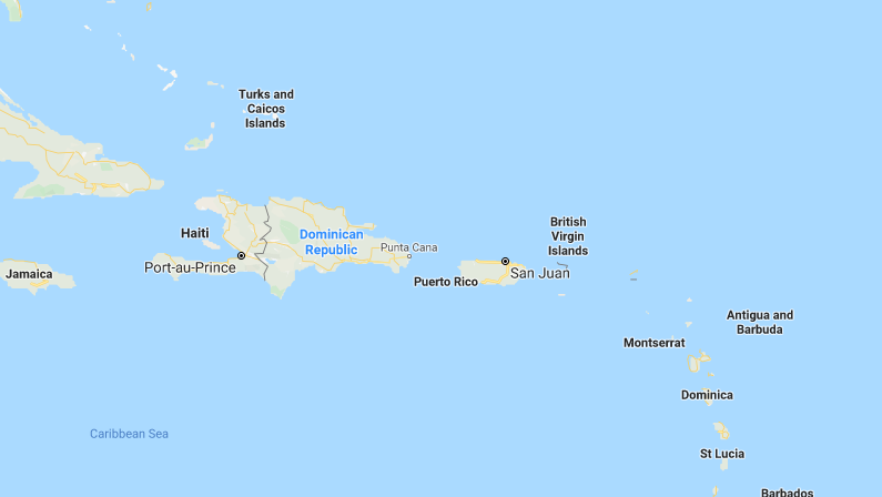Puerto Rico is seen in this screengrab. (Google Maps)
