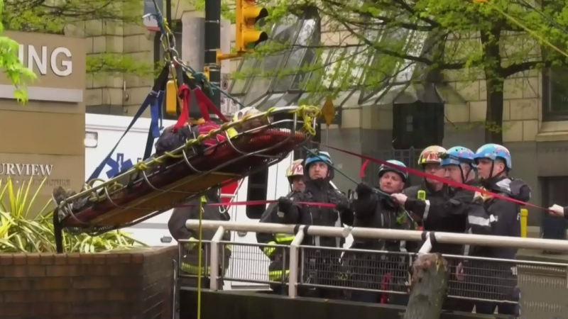 Fire crews perform technical rescue downtown
