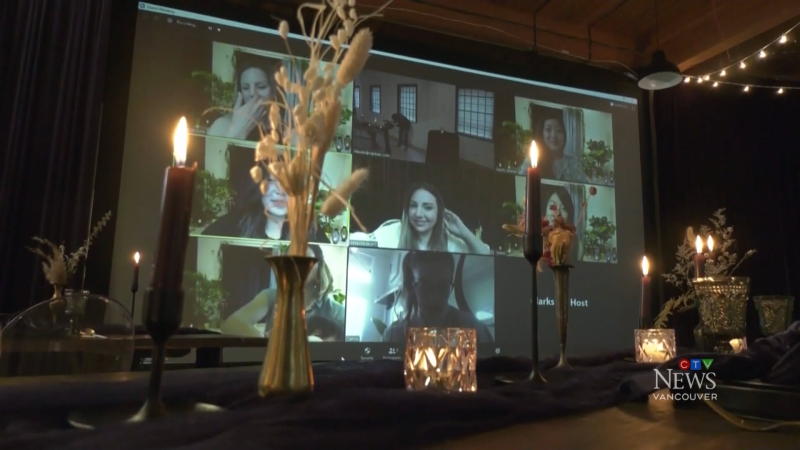 Bespoke Decor has converted its Burnaby showroom into a small wedding chapel to accommodate the bride, groom, officiant and two witnesses, and it has partnered with an audio-visual company to allow up to 98 people to attend virtually using video conferencing software. (CTV)