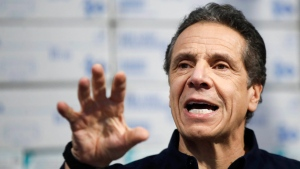 In this March 24, 2020, file photo, New York Gov. Andrew Cuomo speaks during a news conference at the Jacob Javits Center in New York.(AP Photo/John Minchillo, File)