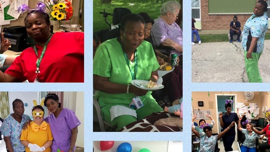 Personal support worker Sharon Roberts, who died of COVID-19 in Ontario, is pictured in this collage created by her colleagues at Downsview Long Term Care. (Claudia Reda Assenza/Facebook)