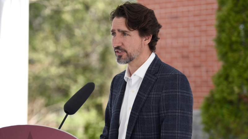 Prime Minister Justin Trudeau speaks during his daily news conference on the COVID-19 pandemic outside his residence at Rideau Cottage in Ottawa, on Sunday, May 3, 2020. THE CANADIAN PRESS/Justin Tang