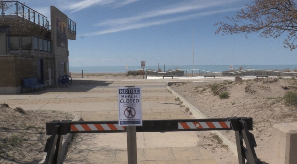 The beach at Grand Bend is closed due to COVID-19 on Sunday, May 3, 2020. (Jordyn Read / CTV News)