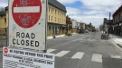 Construction closures have started on Dundas Street at English Street in London, Ont. on Monday, May 4, 2020. (Bryan Bicknell / CTV London)