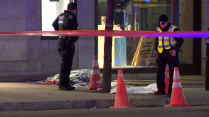 A man was stabbed on Sainte-Catherine Street on Tuesday, May 5, 2020. / Cosmo Santamaria, CTV Montreal