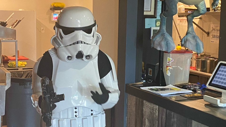 A stormtrooper suit at the Star Wars-themed Coco Vanilla Galactic Cantina in Lethbridge, Alta., drew a police response on May 4, 2020 and landed a worker in handcuffs