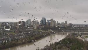 Rainy Edmonton skyline