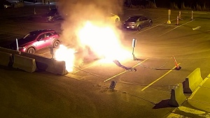 Longueuil police shared a video of a suspect alleged to have set a car on fire in the employee parking lot of Charles-Le Moyne Hospital.