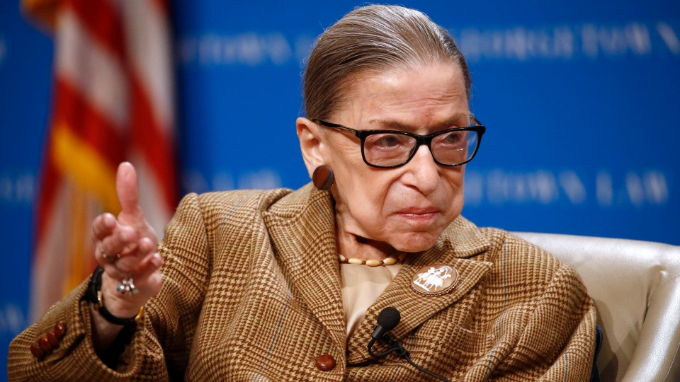 In this Feb. 10, 2020 , file photo, U.S. Supreme Court Associate Justice Ruth Bader Ginsburg speaks during a discussion on the 100th anniversary of the ratification of the 19th Amendment at Georgetown University Law Center in Washington. (AP Photo/Patrick Semansky, File)