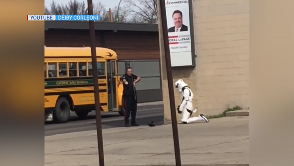 The arrest of a woman in a stormtrooper costume in Lethbridge, Alta. on May 4, 2020 (YouTube/Deiby Corleoni)