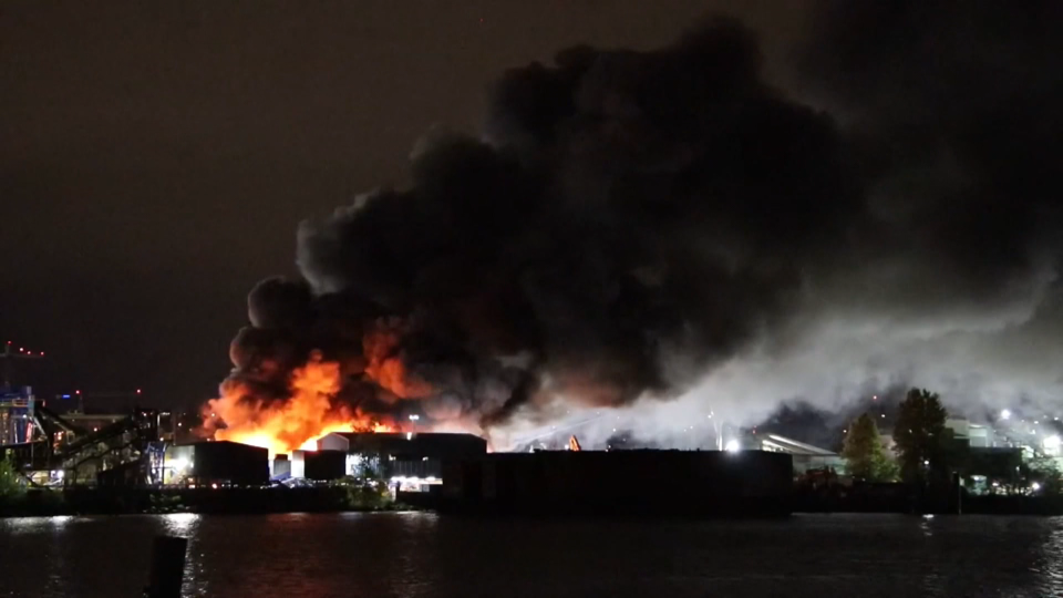Fire at scrapyard on Mitchell Island