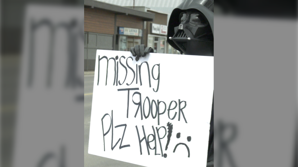 A person in a Darth Vader costume stood outside the Coco Vanilla Galactic Cantina in Lethbridge on Wednesday to show support for the business, and let police and the community know what happened was not okay.