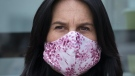 Montreal Mayor Valerie Plante wears a protective mask during a news conference in Montreal on May 5, 2020. (THE CANADIAN PRESS/Paul Chiasson)