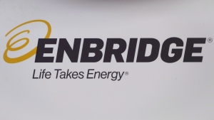 The Enbridge logo is shown at the company's annual meeting in Calgary, Alta., Wednesday, May 9, 2018. THE CANADIAN PRESS/Jeff McIntosh