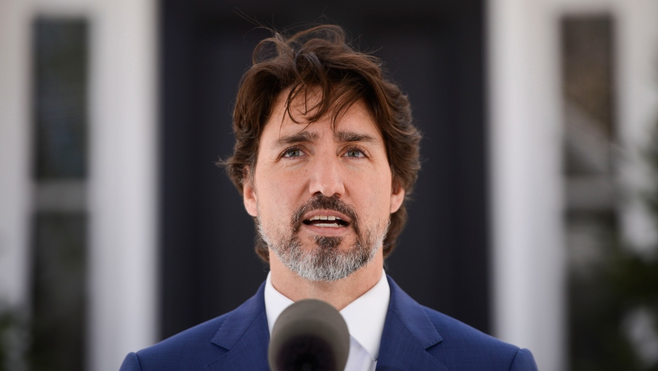Prime Minister Justin Trudeau holds a press conference at Rideau Cottage during the COVID-19 pandemic in Ottawa on Thursday, May 7, 2020. THE CANADIAN PRESS/Sean Kilpatrick