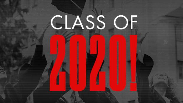 Grads throwing caps under 'Class of 2020'
