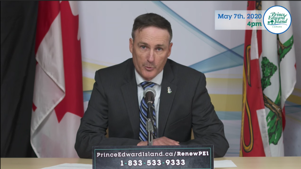 P.E.I.'s Minister of Fisheries and Communities Jamie Fox speaks at a news conference on May 7, 2020.