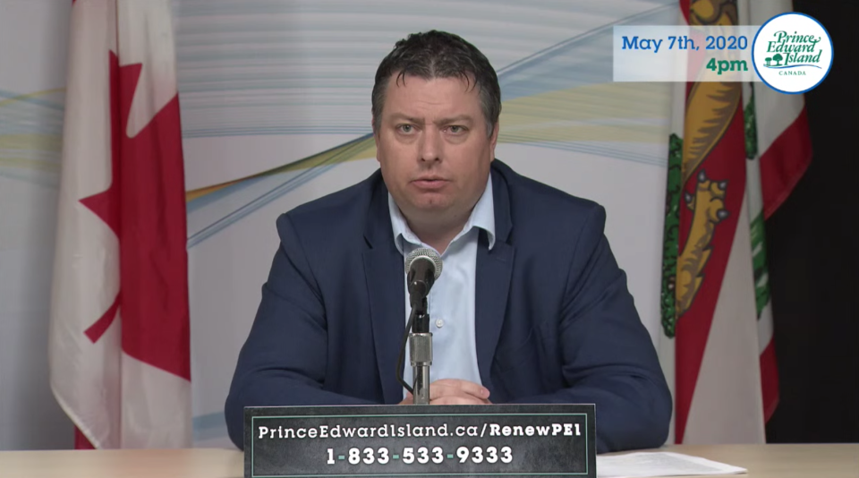 Matthew MacKay, P.E.I.'s Minister of Economic Growth, Tourism and Culture speaks at a news conference on May 7, 2020.