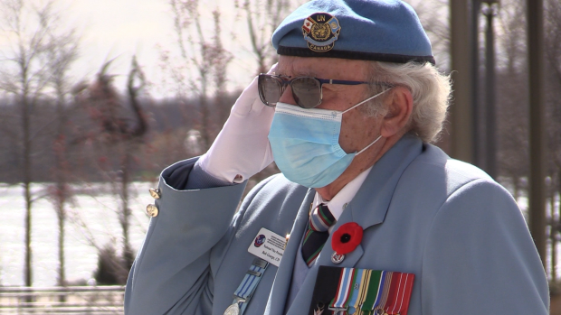 Bob George, Veteran, at the Barrie Cenotaph for the 75th anniversary of VE Day on Fri., May 8, 2020. (Mike Arsalides/CTV News)