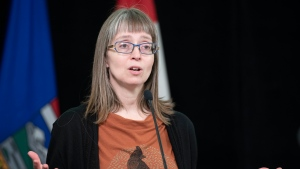 Alberta's chief medical officer of health, Dr. Deena Hinshaw, provides an update on Tuesday, April 14, 2020, on COVID-19 and the ongoing work to protect public health. (photography by Chris Schwarz/Government of Alberta)