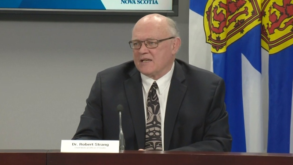 Dr. Robert Strang, Nova Scotia's chief medical officer of health, provides an update on COVID-19 during a news conference in Halifax on May 8, 2020.