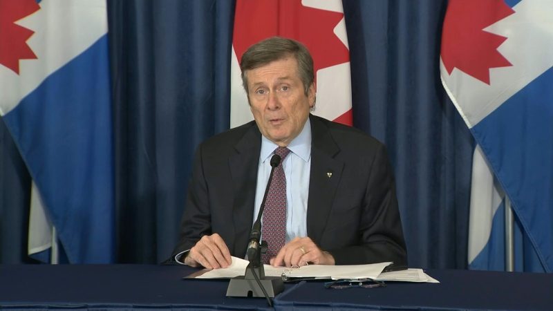 Toronto Mayor John Tory speaks during the city's daily COVID-19 briefing.