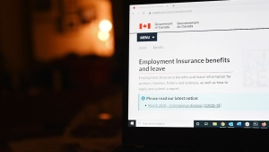 The employment insurance section of the Government of Canada website is shown on a laptop in Toronto on April 4, 2020. THE CANADIAN PRESS/Jesse Johnston