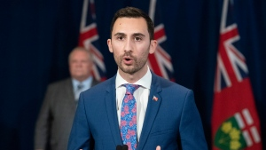 Ontario Education Minister Stephen Lecce answers questions at the daily briefing at Queen's Park in Toronto on Wednesday April 29, 2020. THE CANADIAN PRESS/Frank Gunn