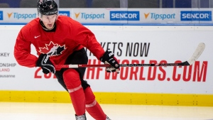 In this Jan. 1, 2020, file photo, Canada's Alexis Lafreniere during during practice at the World Junior Hockey Championships in Ostrava, Czech Republic. (Ryan Remiorz/The Canadian Press via AP, FIle)