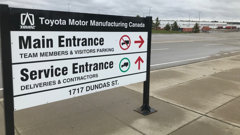 The entrance of Toyota Motor Manufacturing in Woodstock, Ont. is seen on Monday, May 11, 2020. (Sean Irvine / CTV London)