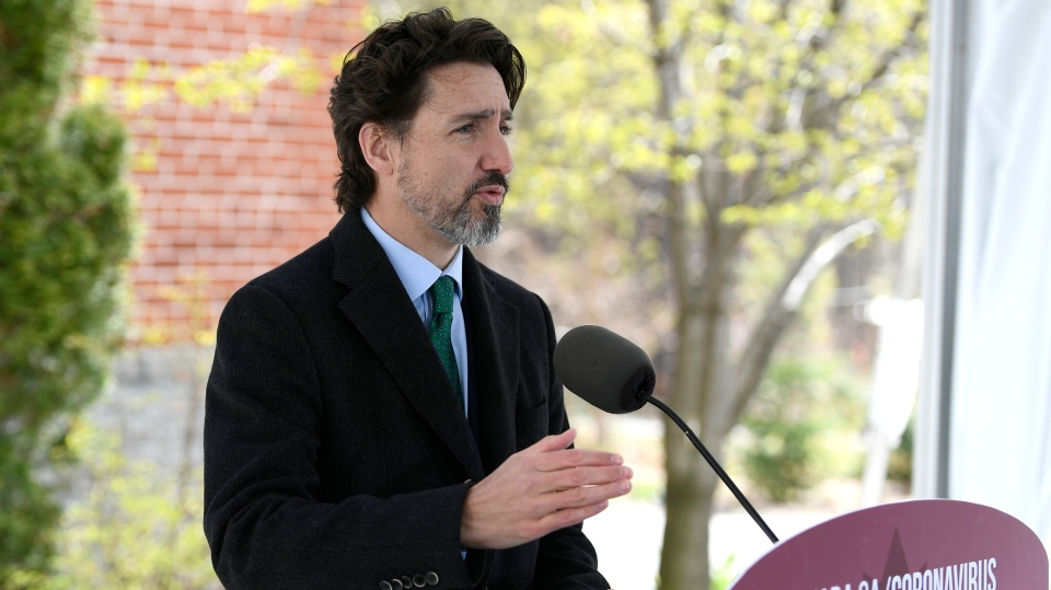 Prime Minister Justin Trudeau speaks during his daily news conference on the COVID-19 pandemic outside his residence at Rideau Cottage in Ottawa, on Monday, May 11, 2020. THE CANADIAN PRESS/Justin Tang