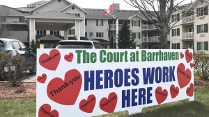 This sign was made and displayed by a grateful family of a resident at the Court at Barrhaven. It is the sentiment of all families with loved ones who reside there.
