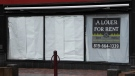 A for rent sign hangs in the window of a commercial space in Gatineau, Que., Thursday, April 30, 2020. (THE CANADIAN PRESS / Adrian Wyld)