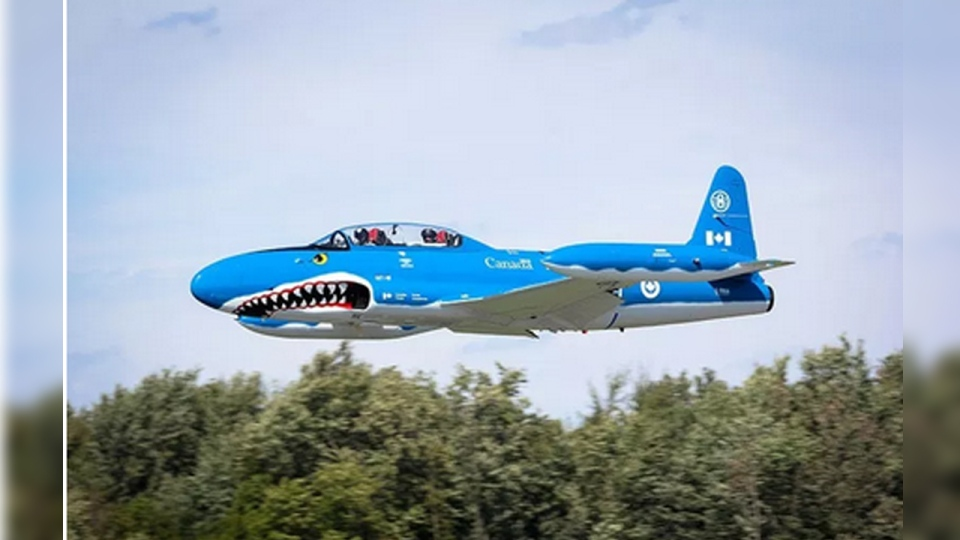 "Canadair T-33 ""Mako Shark"" (C-FRGA) seen here in this undated photo. (Source: Waterloo Warbirds)"