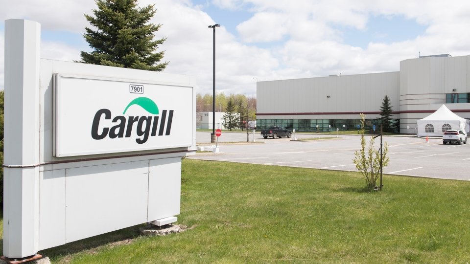 A Cargill meat processing plant is shown in Chambly, Que., south of Montreal, Sunday, May 10, 2020. The plant is closing temporarily after at least 64 workers tested positive for COVID-19. THE CANADIAN PRESS/Graham Hughes