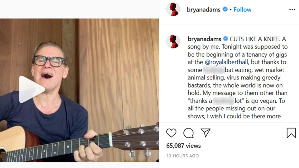 A screenshot of a Bryan Adams Instagram post from Monday, May 11, 2020.