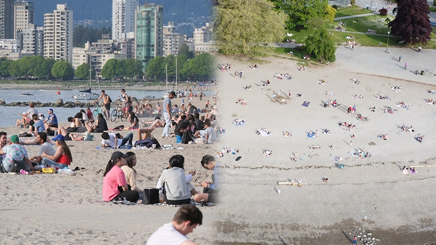 Images captured at Kitsilano Beach by Vancouver landscape architect Jeff Cutler on May 10, 2020 show how certain perspectives can paint a misleading picture of crowding in public parks and beaches.